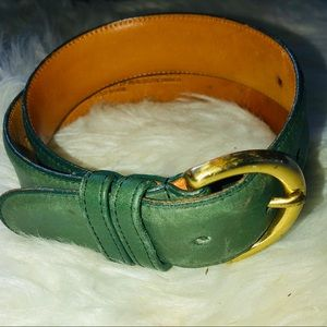 Coach forest green leather belt